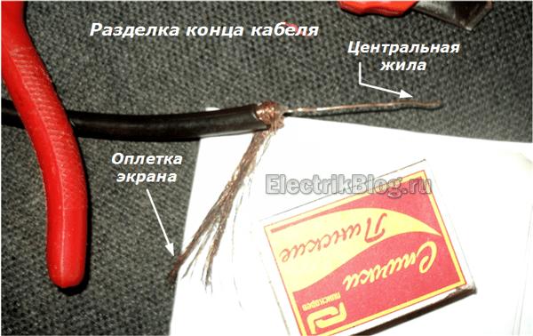 Разделка конца кабеля