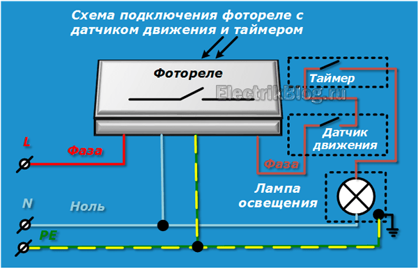 Схема фотореле с датчиком-движения и таймером