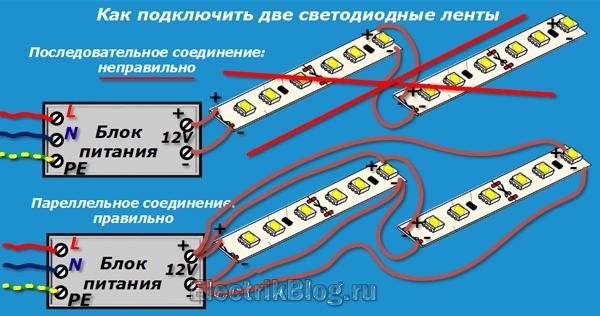 Как подключить две светодиодные ленты