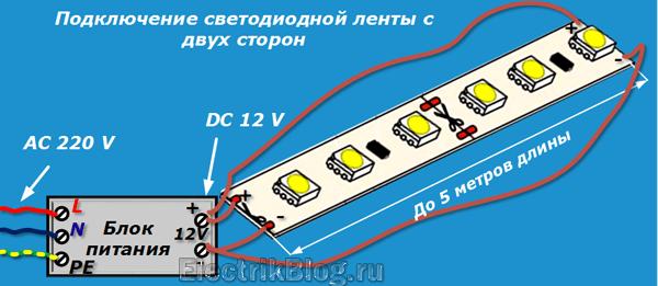 Подключение светодиодной ленты с двух сторон
