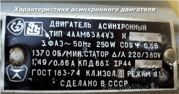 Характеристики асинхронного двигателя