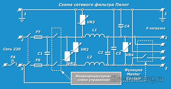 Схема сетевого фильтра Пилот