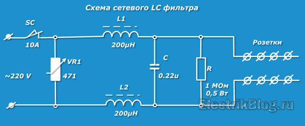 Схема сетевого LC фильтра