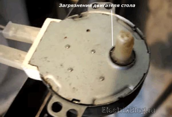 Загрязнения двигателя стола
