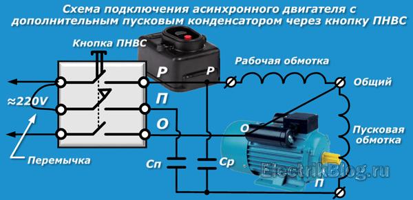 Схема подключения асинхронного двигателя с пусковым конденсатором ПНВС