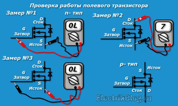 Проверка работы полевого транзистора